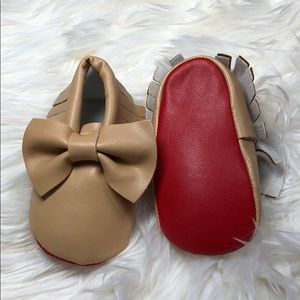 Other - New tan and red soft sole baby toddler moccasins